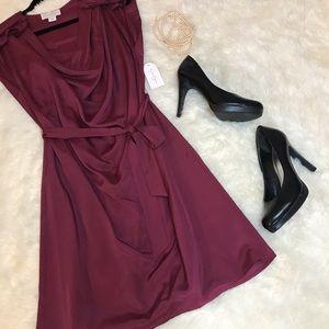 NWT Jessica Simpson burgundy belted dress Medium